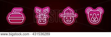 Set Line Stone For Curling, Deer Head With Antlers, Canadian Ranger Hat And Bear. Glowing Neon Icon.