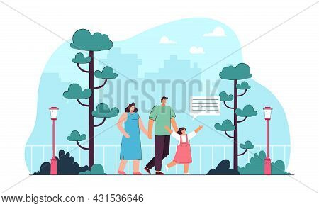 Mother, Father And Daughter Walking In Park. Happy Cartoon Family Spending Time Together In Nature F