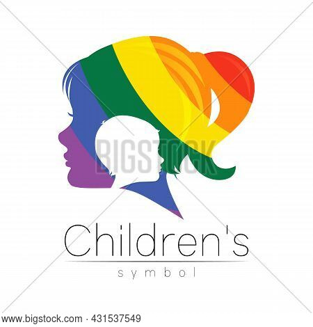 Child Girl Vector Color Logo Of Grow Up Kids Silhouette Profile Human Head. Concept Logo For People,