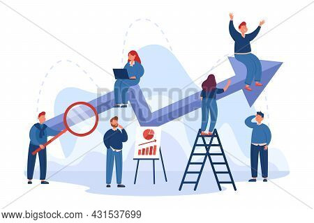 Team Of Cartoon Office People With Business Plan And Up Arrow. Performance Boost, Company Progress R