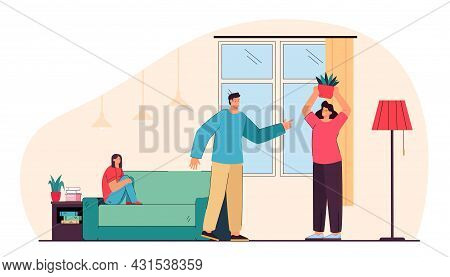 Parents Arguing In Front Of Daughter. Flat Vector Illustration. Family Couple Having Relationship Pr