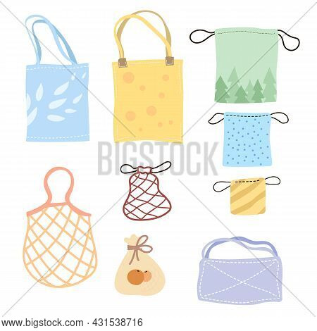 Set Of Colorful Eco Bags Cartoon Vector Illustration. Various Kits, Totes, Cotton Nets For Bulking P