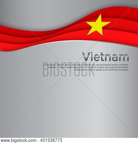 Abstract Waving Vietnam Flag. Creative Metal Background For Design Of Patriotic Vietnamese Holiday C