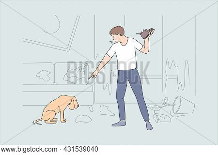Being Angry At Pet Concept. Young Angry Aggressive Man Cartoon Character Standing Shouting At Guilty