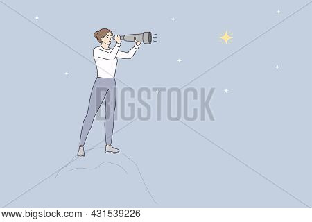 Looking At Stars With Binoculars Concept. Young Woman Cartoon Character Standing Looking At Stars On