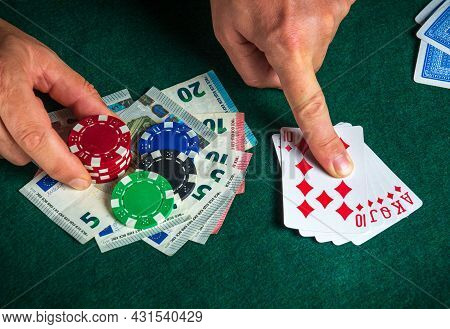 Success In Winning On The Table In A Poker Club With A Combination Of Cards Royal Flush.
