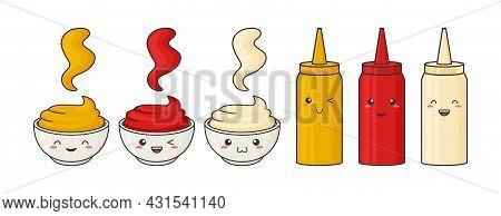 Sauce Face Kawaii, Vector Funny Character Bowl And Bottle. Mustard, Ketchup, Mayonnaise Pack In Cont