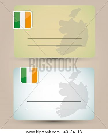 business card with flag and map of Ireland