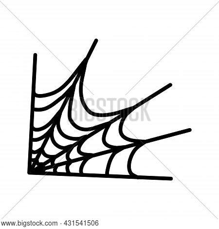 Corner Spiderweb Black Linear Icon. Halloween Outline Sign. Monochrome Spider Web Thin Line Pictogra