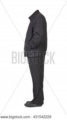 Men's Black Jacket ,black Pants  And Black  Leather Shoes Isolated On White Background. Men's Autumn