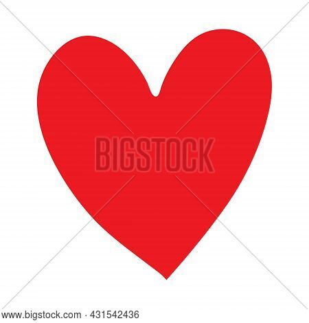 Red Heart Icon Isolated On White Background. Modern Flat Valentine Love Sign.