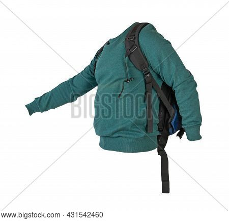 Blue  Backpack Dressed In A Knitted Green  Sweater Isolated On A White Background. Backpack And Male