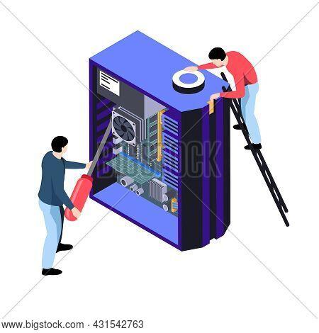 Isometric Computer Repair Workers Fixing Computer 3d Vector Illustration