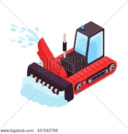 Isometric Icon With Snowplow Truck Cleaning Road After Snowfall Vector Illustration