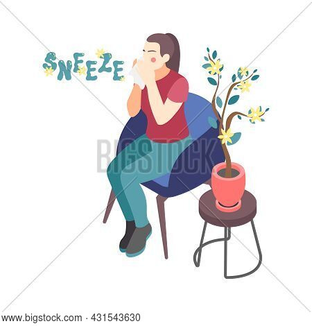 Woman With Allergy To Pollen Sneezing 3d Isometric Vector Illustration
