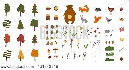 Hand Drawn Cartoon Vector Illustration Set Of Summer And Autumn Forest Park Landscape Background Ele