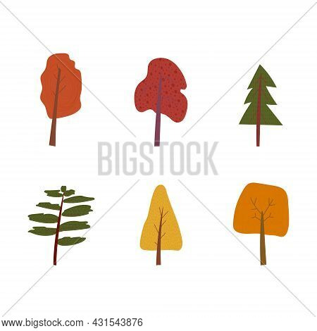 Hand Drawn Cartoon Vector Illustration Of Fall Nature Forest Park Landscape Background Elements With