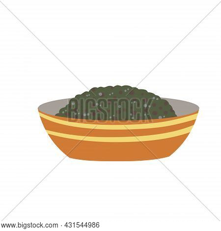 Chia Seeds In Plate. Detox And Antioxidant. Healthy Diet And Super Food In Bowl. Flat Cartoon