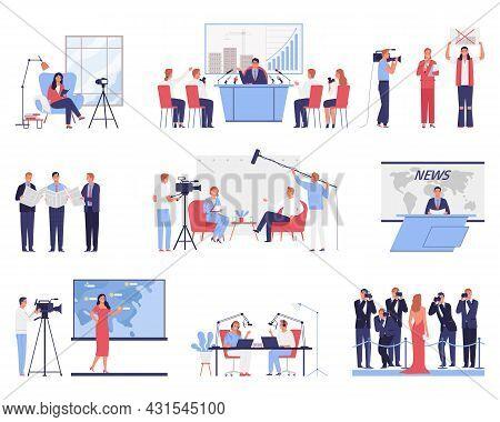 Mass Media Flat Icons Set With Tv Studio News Reporter Cameraman Red Carpet Vlogger Isolated On Whit