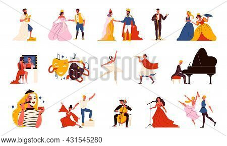 Theatre Flat Icons Set With Actors And Actresses Wearing Theatrical Costumes Musicians Singers Dance