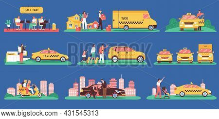 Taxi Color Set Of Isolated Icons With Cityscape Elements Cabs Of Different Class And Clients Charact