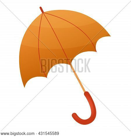Vector Drawing Of An Orange Umbrella From The Rain. Orange Umbrella In Flat Style Isolated On White