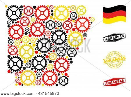 Service Arkansas State Map Collage And Seals. Vector Collage Is Composed With Wheel Elements In Vari
