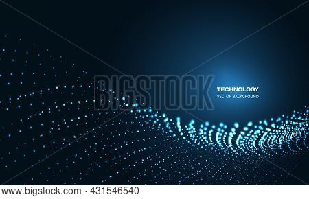 Digital Abstract Vector Technology Particle Wave In Dark Blue Background. Hi Tech Particles Wire Net