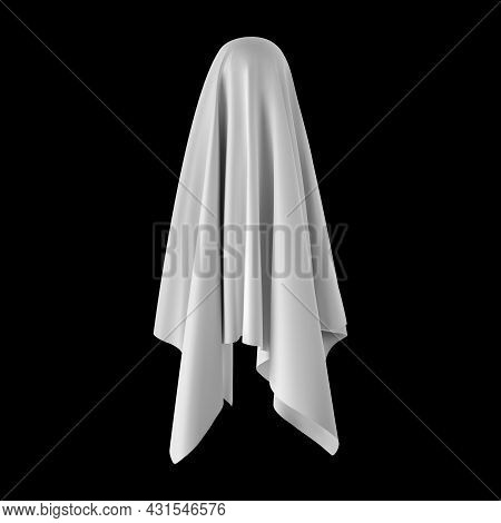 Ghost On A Black Background. An Evil Spirit With A Covered Sheet. Vector Eps 10