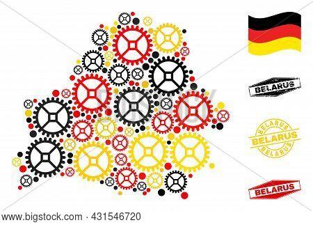 Repair Workshop Belarus Map Collage And Seals. Vector Collage Is Composed Of Repair Workshop Items I