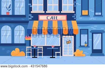 The Facade Of The Cafe With Tables Under A Canopy And A Sign With The Name Flat Vector Illustration