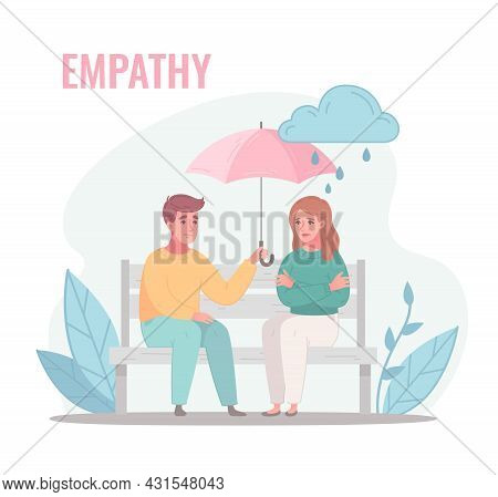 Empathy Characters Cartoon Composition With Couple Sitting On Bench With Umbrella On Rainy Day With