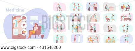 Medicine Set Of Flat Isolated Compositions With Human Characters Of Patients Being Examined By Medic