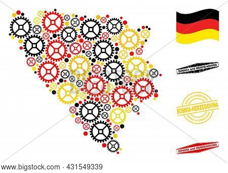 Repair Workshop Bosnia And Herzegovina Map Collage And Seals. Vector Collage Created With Repair Wor