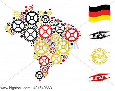 Repair Workshop Brazil Map Collage And Seals. Vector Collage Composed From Workshop Elements In Vari