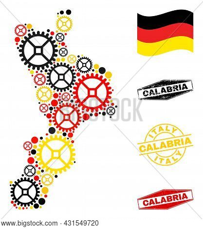 Repair Service Calabria Region Map Collage And Stamps. Vector Collage Is Composed Of Wheel Items In