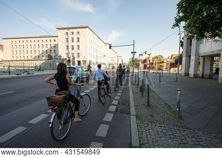 Berlin, Germany - August 11 , 2021 - View Of Wilhelmstrasse In Berlin Bicycles And Scooters
