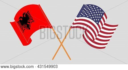 Crossed And Waving Flags Of Albania And Usa
