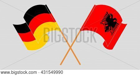 Crossed And Waving Flags Of Albania And Germany