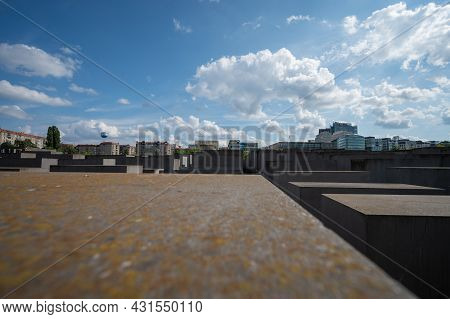 Berlin, Germany - August 11 , 2021 - View Of The Concrete Monument To The Murdered Jews Of Europe In
