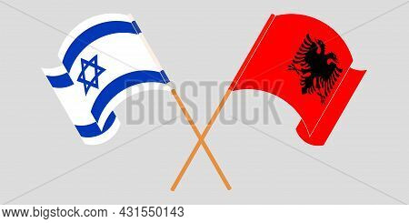 Crossed And Waving Flags Of Albania And Israel