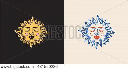 Mystical Sleeping Sun. Astronomy, Alchemy And Astrology Symbol. Magic Gypsy Vector Illustration. Han