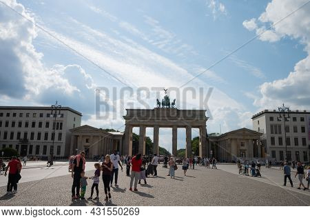 Berlin, Germany - August 11 , 2021 - View Of The Brandenburg Gate And Surrounding Areas In Berlin.