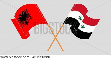 Crossed And Waving Flags Of Albania And Syria