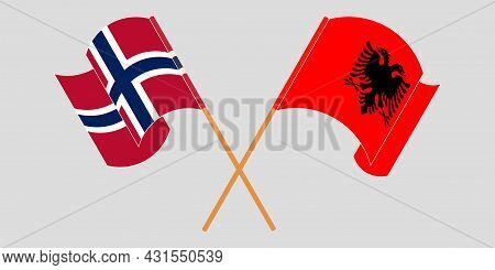 Crossed And Waving Flags Of Albania And Norway