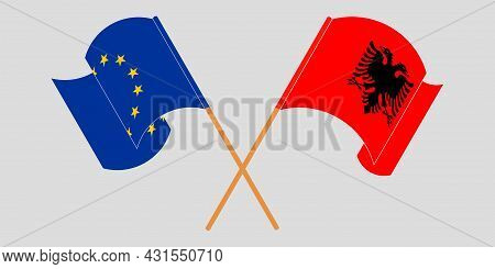 Crossed And Waving Flags Of Albania And The Eu