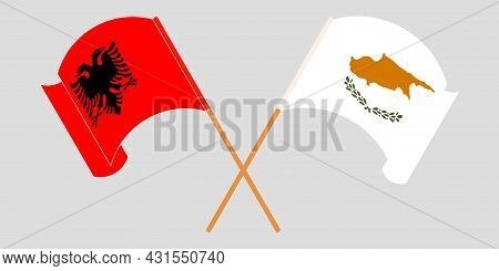 Crossed And Waving Flags Of Albania And Cyprus