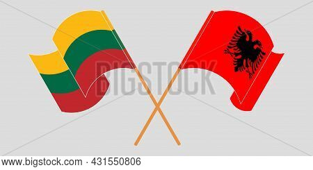 Crossed And Waving Flags Of Albania And Lithuania
