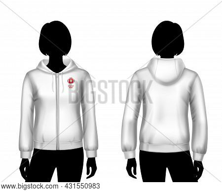 Female Hooded Sweatshirt White Template On Woman Body Front And Back Silhouettes Isolated Vector Ill