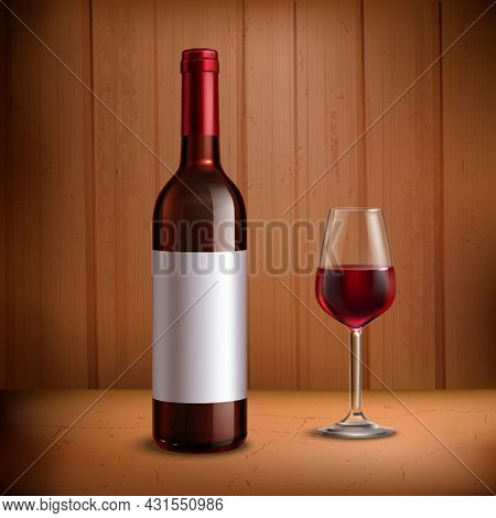 Wine Bottle Template With Glass Of Red Wine Realistic Vector Illustration